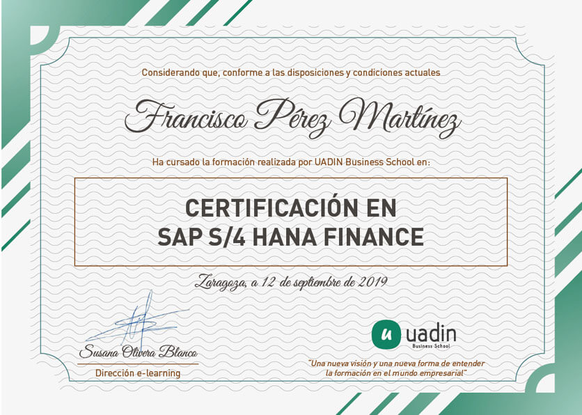 Certificación en SAP S/4 HANA Finance