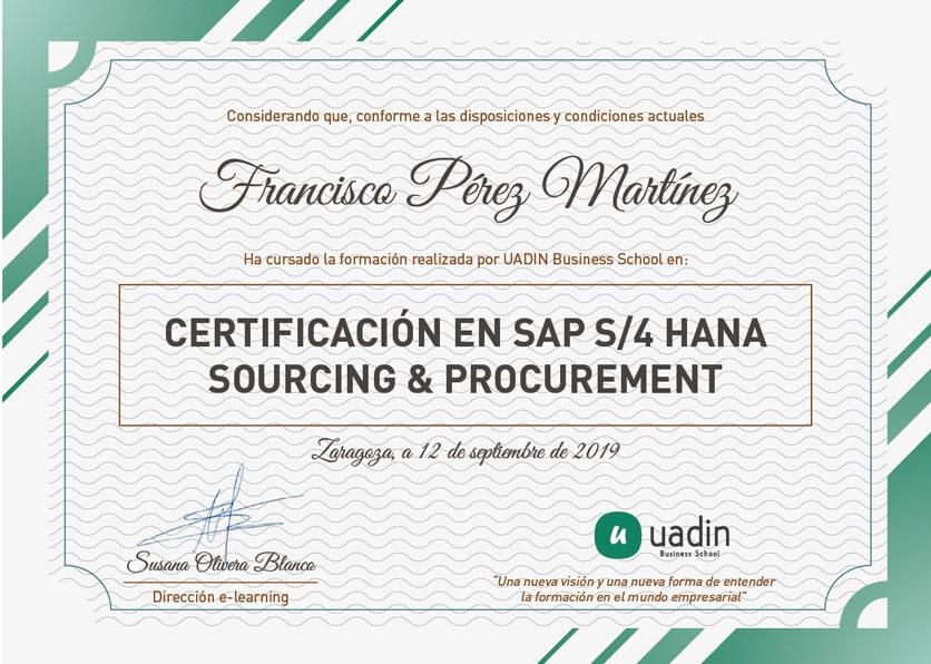 Certificaciójn en SAP S/4 HANA Sourcing & Procurement
