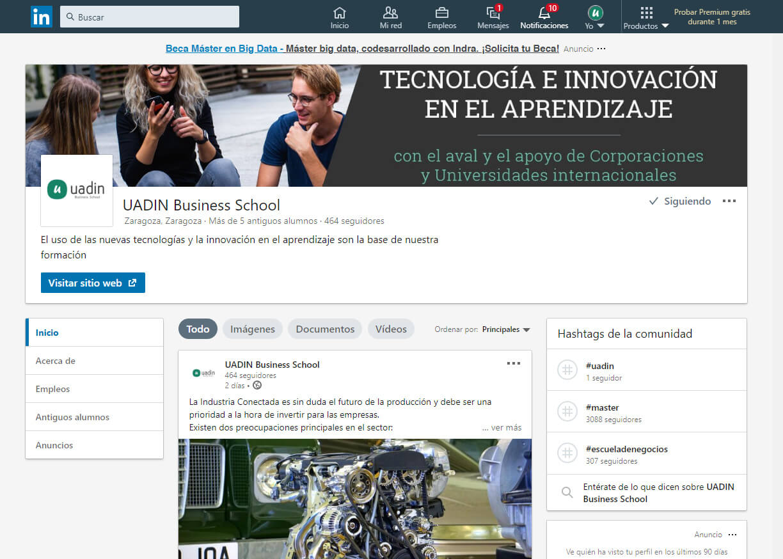 Uadin Business School: Portada Linkedin