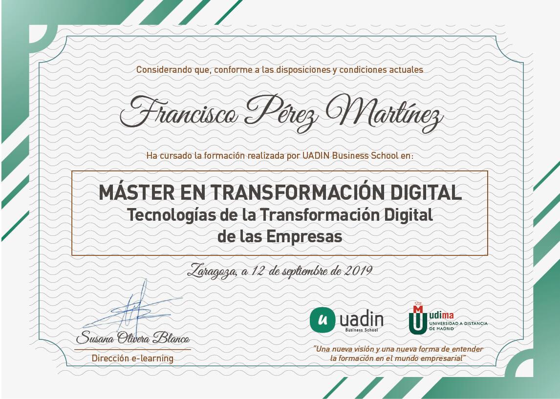 Título Máster en Transformación Digital