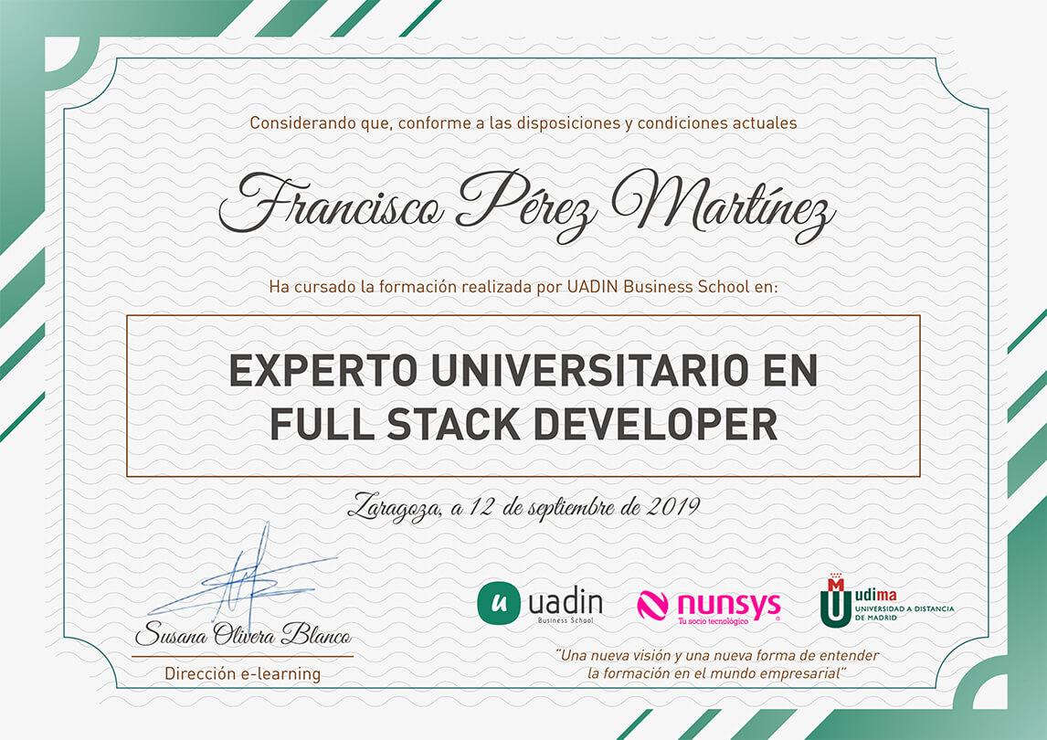 Título Experto universitario0 en Full Stack Developer