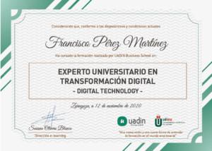 Título de Experto Universitario en Tecnologías Habilitadoras para la Transformaci´pon Digital - Digital Tehnology